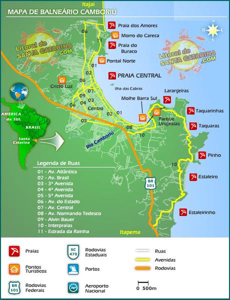 Mapa Balneário Camboriú