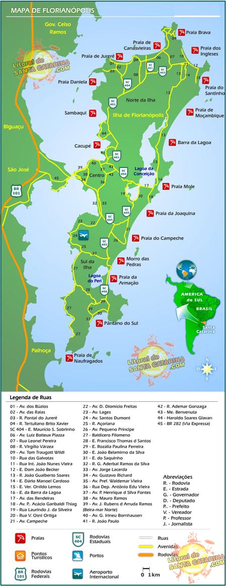 Mapa de Florianópolis, Santa Catarina